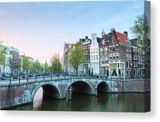 North Holland Canvas Print featuring the photograph Amsterdam At Dusk by Fraser Hall