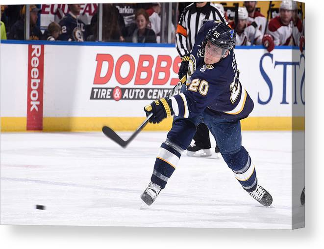 National Hockey League Canvas Print featuring the photograph Arizona Coyotes V St Louis Blues by Scott Rovak