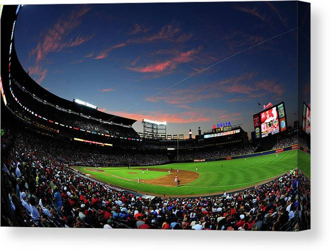 Atlanta Canvas Print featuring the photograph Arizona Diamondbacks V Atlanta Braves by Scott Cunningham