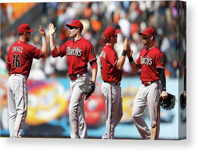 San Francisco Canvas Print featuring the photograph Arizona Diamondbacks V San Francisco by Lachlan Cunningham