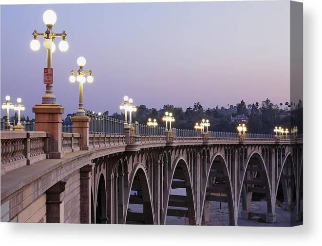 Arch Canvas Print featuring the photograph Arroyo Seco Bridge Pasadena by S. Greg Panosian