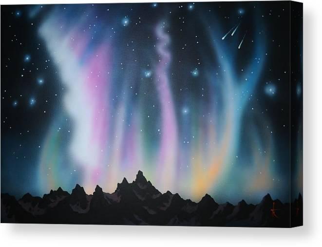 Aurora Borealis Canvas Print featuring the painting Aurora Borealis in the Rockies by Thomas Kolendra