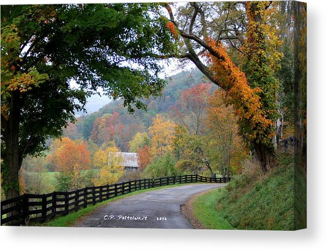 Nature Canvas Print featuring the photograph Autumn Beauty around the Bend by Carolyn Postelwait