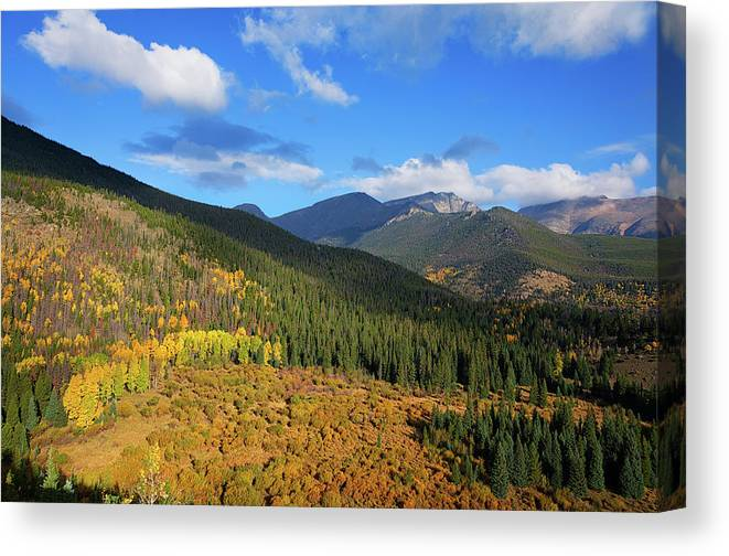 Scenics Canvas Print featuring the photograph Autumn Color In Colorado Rockies by A L Christensen