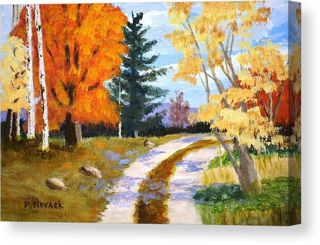 Autumn Canvas Print featuring the painting Autumn Road by Patricia Novack