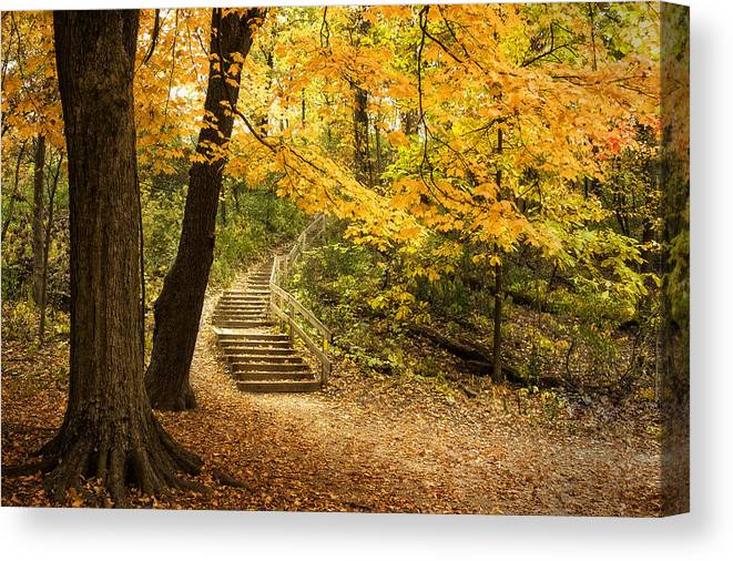 Autumn Canvas Print featuring the photograph Autumn Stairs by Scott Norris
