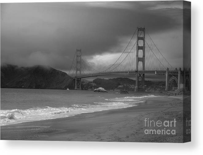 Black And White Canvas Print featuring the photograph Baker Beach View by David Bearden