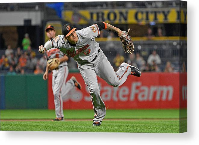 People Canvas Print featuring the photograph Baltimore Orioles v Pittsburgh Pirates by Justin Berl