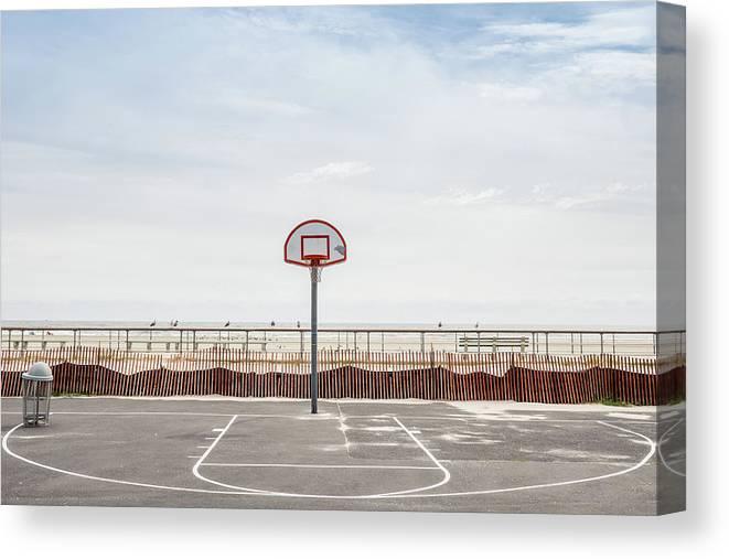 Empty Canvas Print featuring the photograph Basketball Court Against Cloudy Sky by Sebastian Kopp / Eyeem