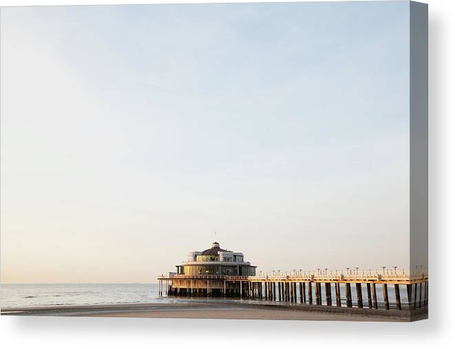 Tranquility Canvas Print featuring the photograph Belgium, Blankenberge, View Of Pier At by Westend61