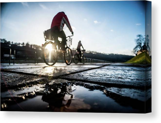 People Canvas Print featuring the photograph Bicycles by A. Aleksandravicius