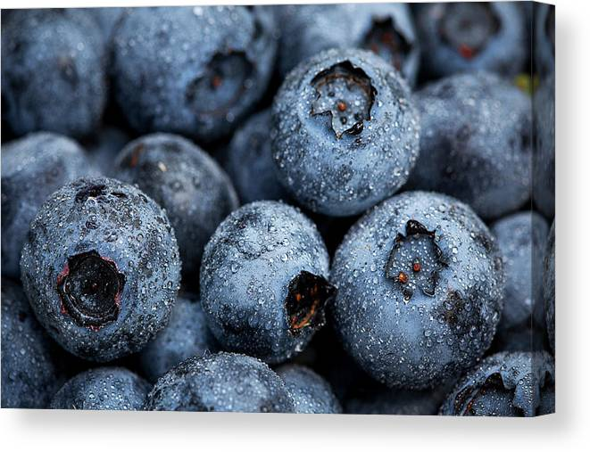 Surrey Canvas Print featuring the photograph Blueberries Fruits by Kevin Van Der Leek Photography