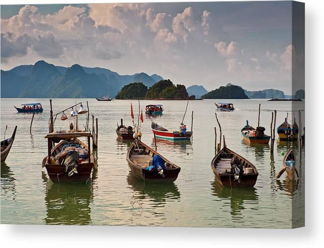 Southeast Asia Canvas Print featuring the photograph Boats Moored In Sea, Teluk Baru by Richard I'anson