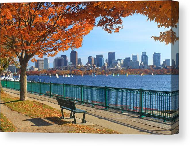 Boston Canvas Print featuring the photograph Boston Charles River in Autumn by John Burk