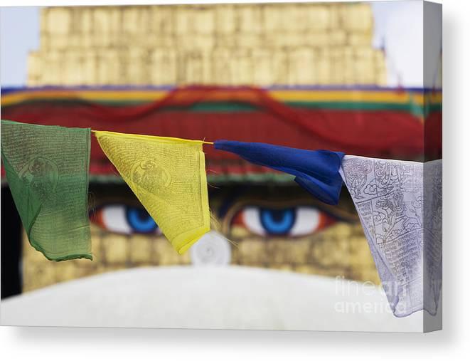 Boudhanath Stupa Canvas Print featuring the photograph Boudhanath Stupa Prayer Flags by Tim Gainey