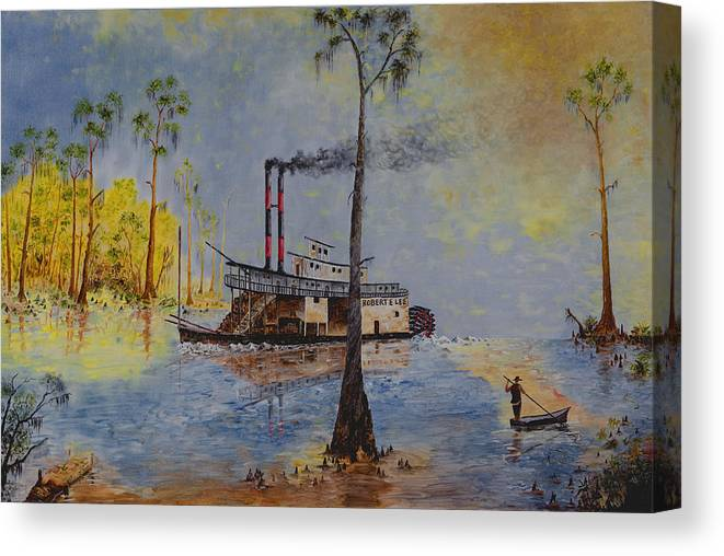 River Boat Canvas Print featuring the painting Bound for New Orleans Bayou Saint John Louisiana by Richard Barham