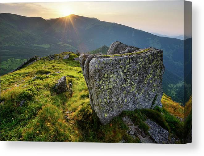 Scenics Canvas Print featuring the photograph Bright Sunset Landscape In Mountains by Rezus