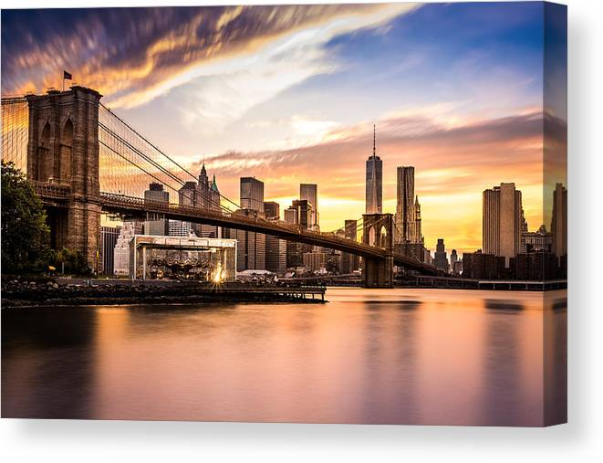 America Canvas Print featuring the photograph Brooklyn Bridge at sunset by Mihai Andritoiu