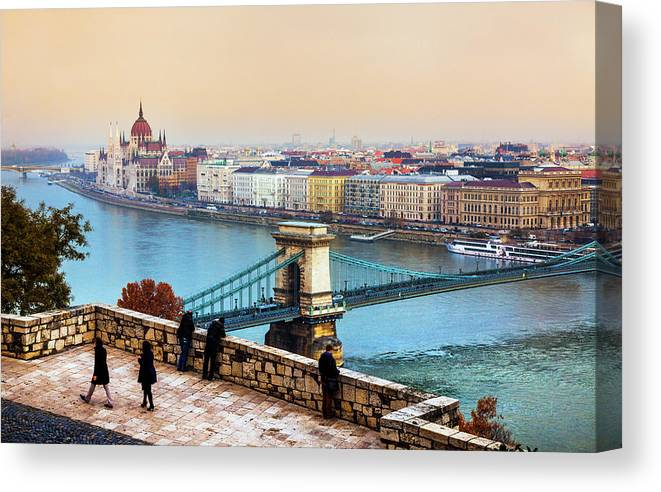 Hungarian Parliament Building Canvas Print featuring the photograph Budapest - Hungarian Pastels by John And Tina Reid