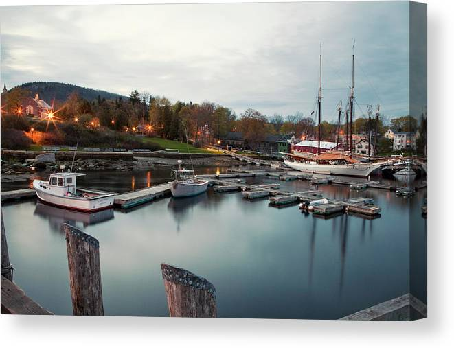 Camden Canvas Print featuring the photograph Camden Harbor, Maine At Twighlight by Chris Bennett