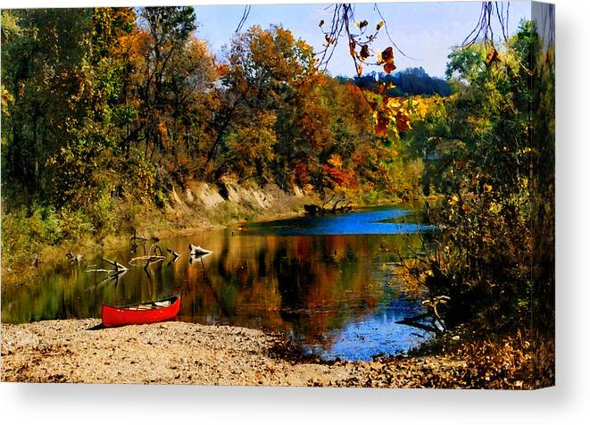 Autumn Canvas Print featuring the photograph Canoe on the Gasconade River by Steve Karol
