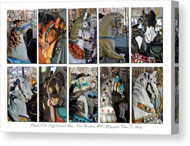 Diane Berry Canvas Print featuring the photograph Charles Looff Carousel Ponies by Diane E Berry