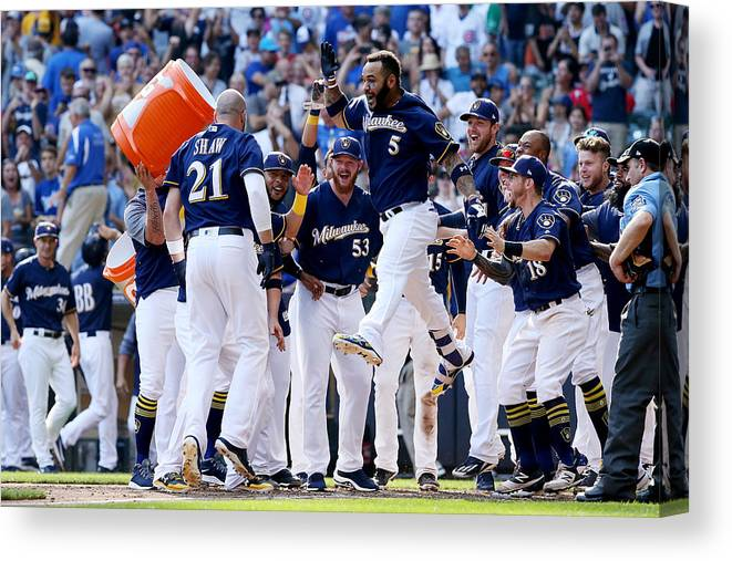 American League Baseball Canvas Print featuring the photograph Chicago Cubs v Milwaukee Brewers by Dylan Buell
