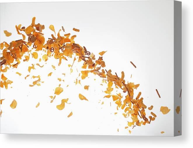 Curve Canvas Print featuring the photograph Chips, Pretzels And Savory Snacks by Dual Dual