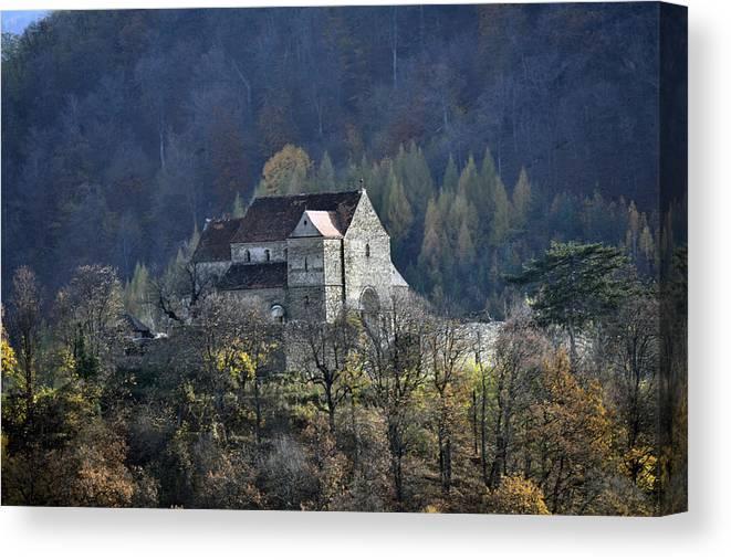 Cisnadioara Canvas Print featuring the photograph Cisnadioara Michelsberg Siebenbuerger medieval Castle by Adrian Bud