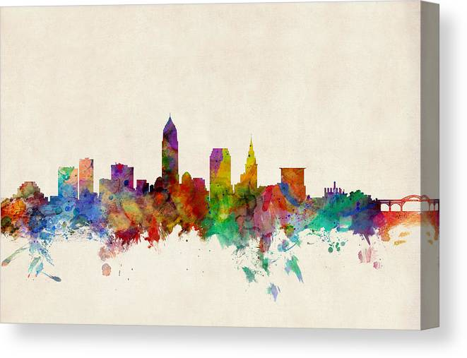 Watercolour Canvas Print featuring the digital art Cleveland Ohio Skyline by Michael Tompsett