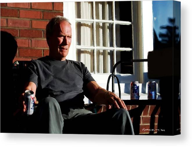 Clint Eastwood Canvas Print featuring the digital art Clint Eastwood @ Grand Torino- 2 by Gabriel T Toro