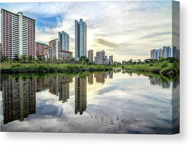 Standing Water Canvas Print featuring the photograph Clover Reflections by Tia Photography