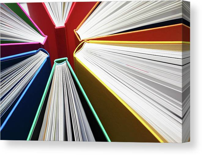Expertise Canvas Print featuring the photograph Colorful Books Abstract by Blackred