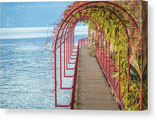 Non-urban Scene Canvas Print featuring the photograph Como District Lake, Varenna by Deimagine