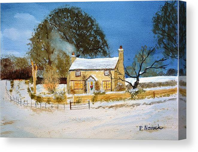 Cottage Canvas Print featuring the mixed media Cottage At Christmas by Patricia Novack