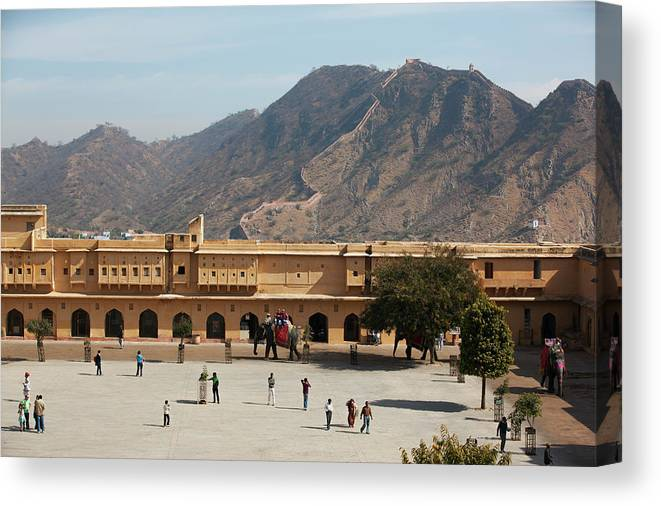 Shadow Canvas Print featuring the photograph Courtyard Of Amer Fort, Rajasthan by Bjarte Rettedal