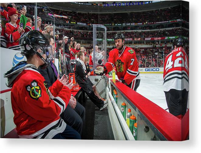 United Center Canvas Print featuring the photograph Dallas Stars V Chicago Blackhawks by Bill Smith
