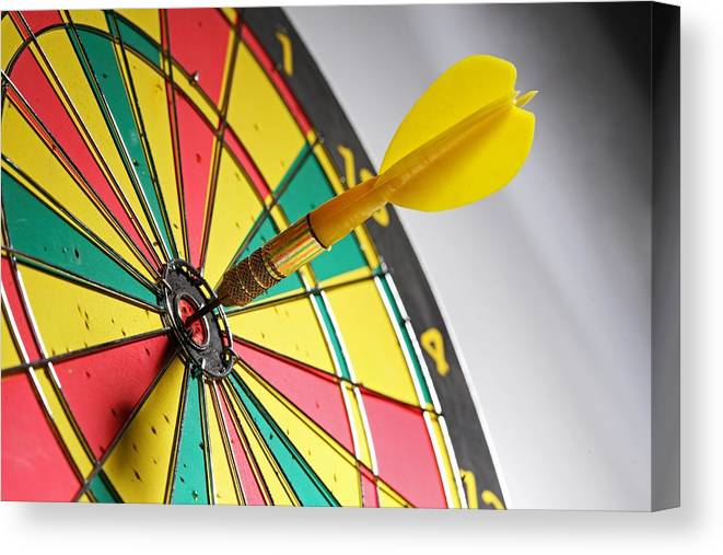 Scoring Canvas Print featuring the photograph Dart On A Dartboard by Visage