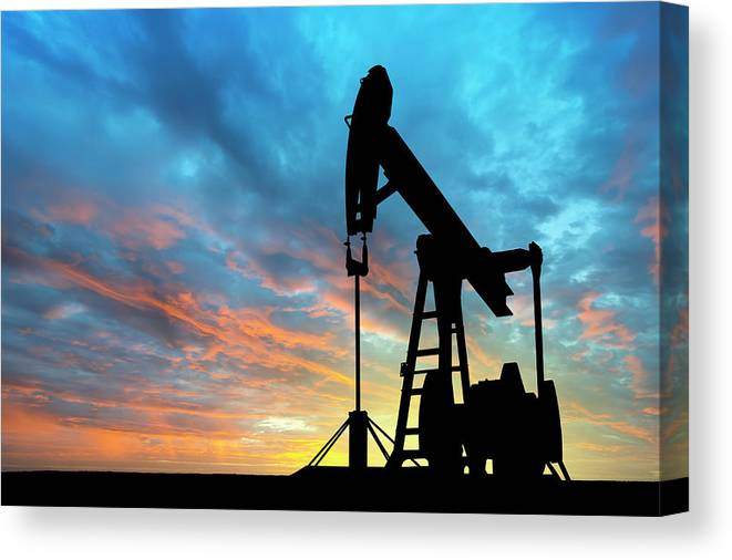 Shadow Canvas Print featuring the photograph Dawn Over Petroleum Pump by Grafissimo
