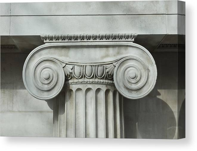 Shadow Canvas Print featuring the photograph Detail an ionic column by Norman Posselt