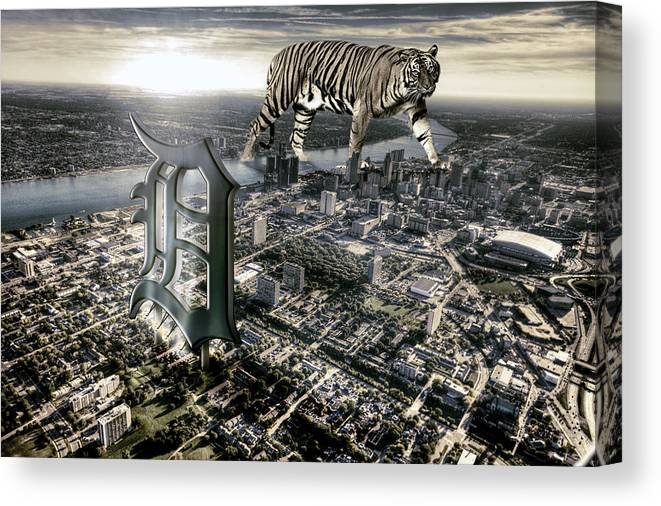 Giant Tiger Canvas Print featuring the photograph Detroit by Nicholas Grunas