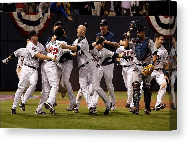 Hubert H. Humphrey Metrodome Canvas Print featuring the photograph Detroit Tigers v Minnesota Twins by Jamie Squire