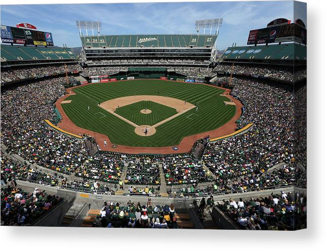 American League Baseball Canvas Print featuring the photograph Detroit Tigers Vs. Oakland Athletics by Brad Mangin