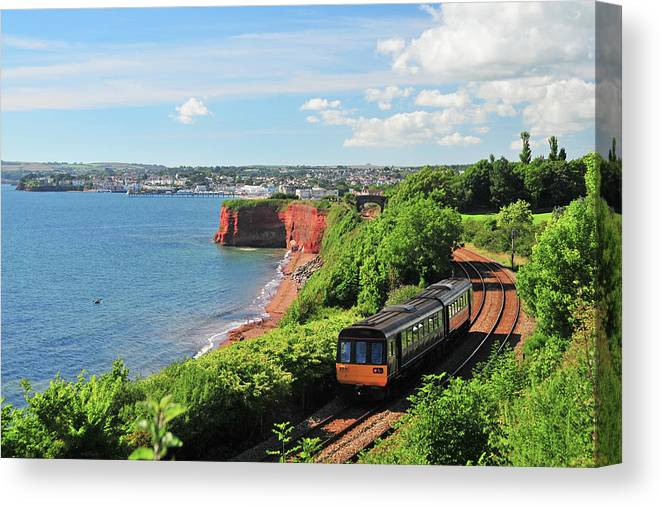 Passenger Train Canvas Print featuring the photograph Devon Train by Maxian