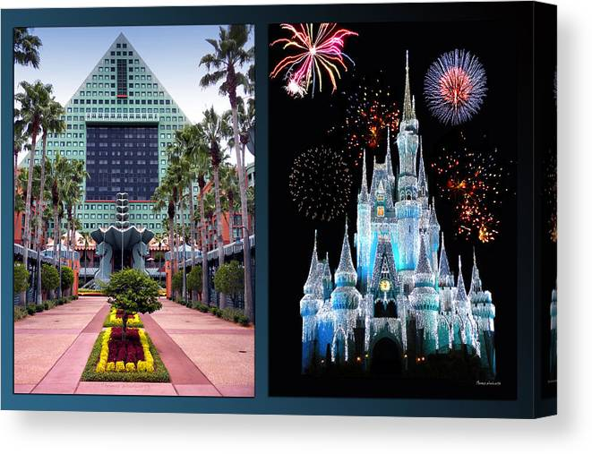 Disney World Castle Fireworks And Swan Dolphin Resort 2 Panel Canvas Print Canvas Art By Thomas Woolworth