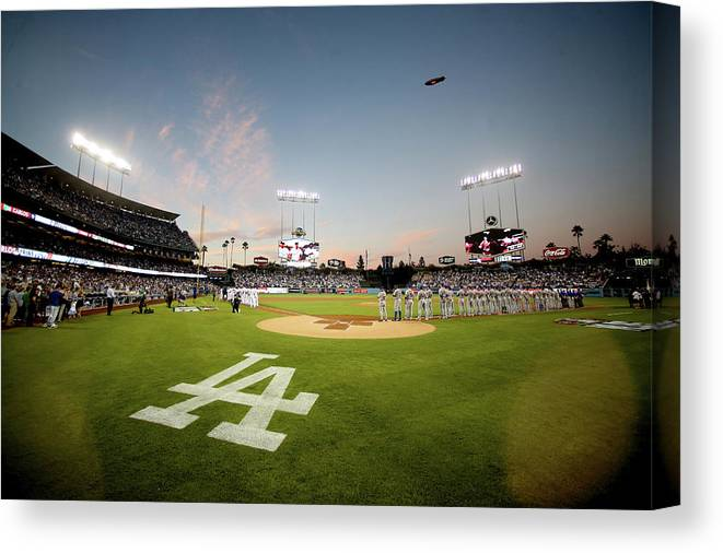 American League Baseball Canvas Print featuring the photograph Division Series - New York Mets V Los by Stephen Dunn