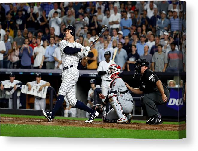 Second Inning Canvas Print featuring the photograph Divisional Round - Cleveland Indians v New York Yankees - Game Four by Al Bello