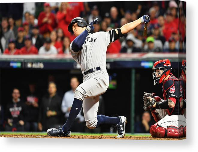 People Canvas Print featuring the photograph Divisional Round - New York Yankees v Cleveland Indians - Game Five by Jason Miller