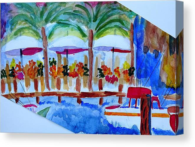 Boats Canvas Print featuring the painting Dock Market by Margaret G Calenda