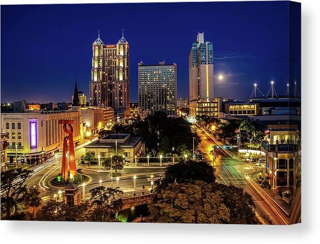 Downtown District Canvas Print featuring the photograph Downtown San Antonio by John Cabuena Flipintex Fotod